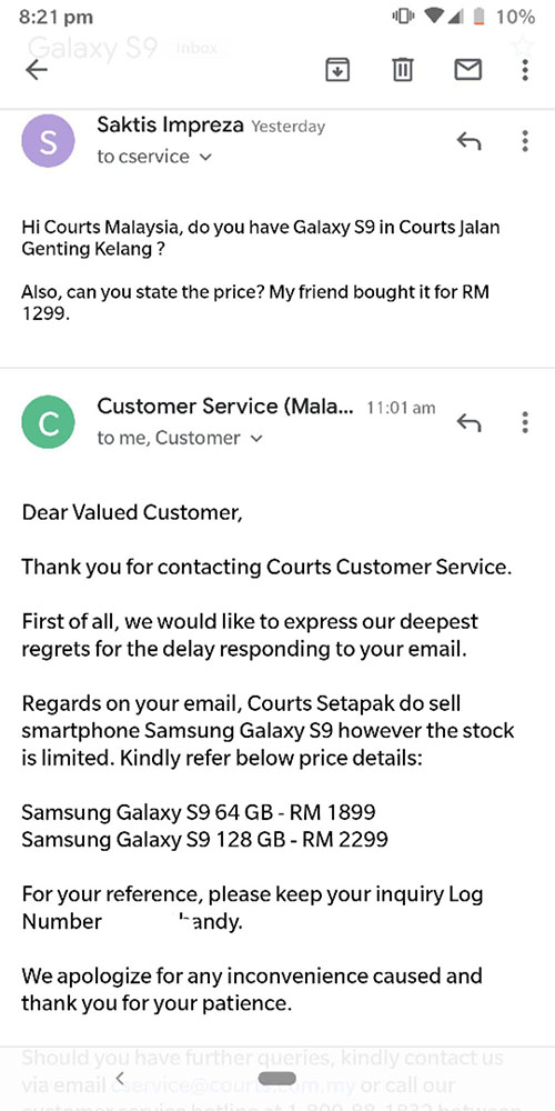 Courts Malaysia oopsie Galaxy S9 Galaxy S9+
