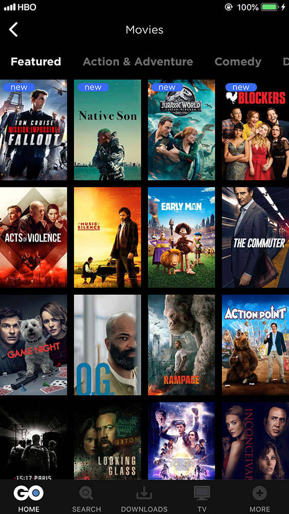 what is on hbo go movies