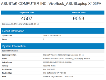 ASUS VivoBook K403 GeekBench CPU