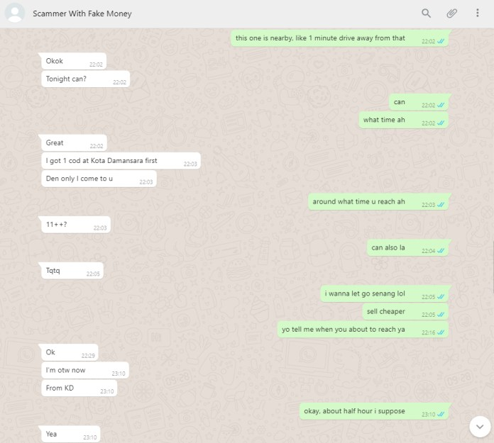 Fake money scammer WhatsApp conversation