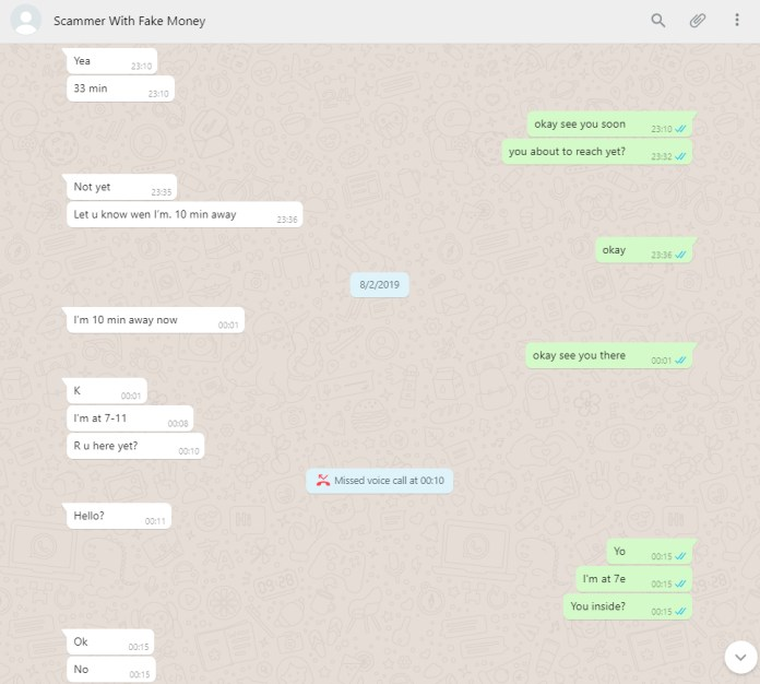 Fake money scammer WhatsApp conversation