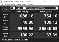 ASUS ZenBook Duo UX481F CrystalDiskMark real benchmark
