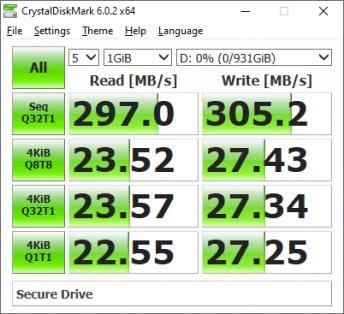 SecureDrive BT CrystalDiskMark benchmark