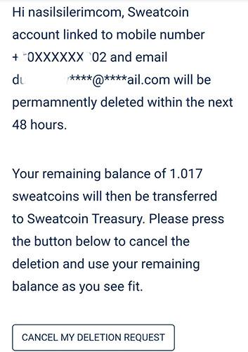 Chiusura del conto Sweatcoin