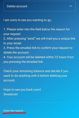 Delete Sweatcoin Account
