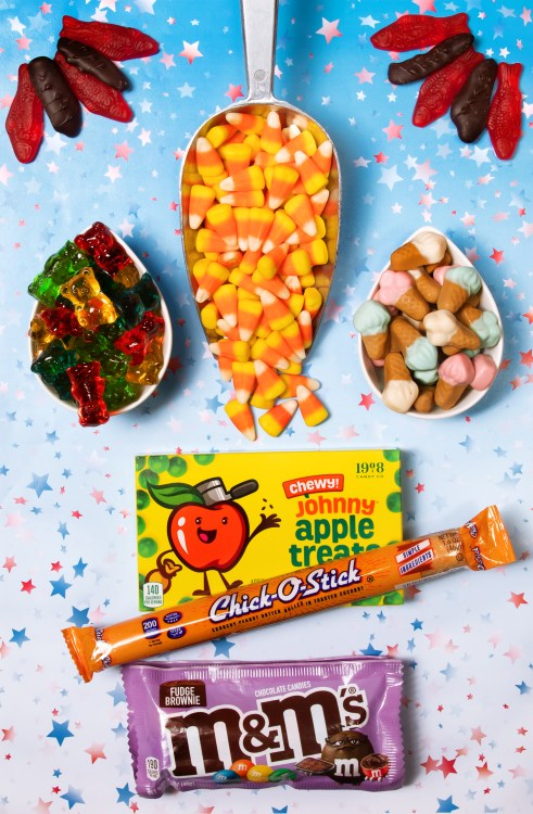 Assortment of presidential treats -  Swedish fish, gummy ice cream cones, gummy bears, chocolate covered ginger, Johnny Apple Treats, Chick-O-Stick