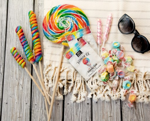 salt water taffy, Taffy Town Taffy, Whirly pop, nostalgic candy, retro candy. nostalgic summertime candy, Whirly Pop, Twist pop, rainbow ice, rainbow ice gum, tropical flavors