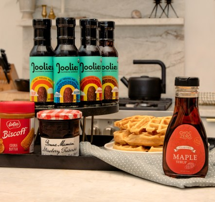 pancake toppings, waffle toppings, Joolies Syrup, date syrup, better for you syrup, sugar free syrup, ChocZero Maple Syrup, cookie butter, Biscoff Cookie Butter, breakfast, breakfast foods,
