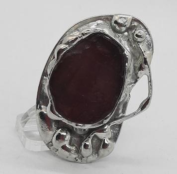 agat arbuzowy pierścionek