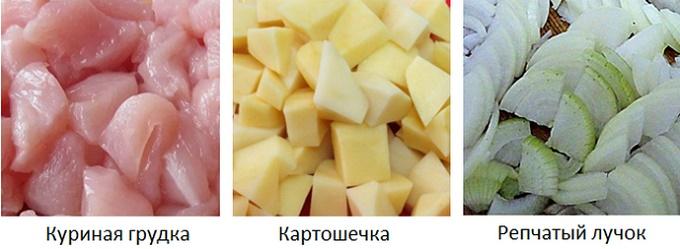 Пияз, картоп және тауық еті