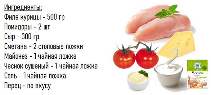 Тауық еті үшін ингредиенттер қызанақ қосылған