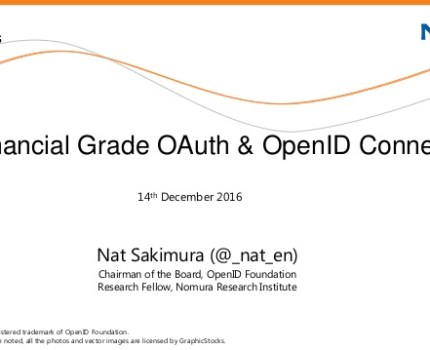 APIDays 2016: Financial Grade OAuth & OpenID Connect
