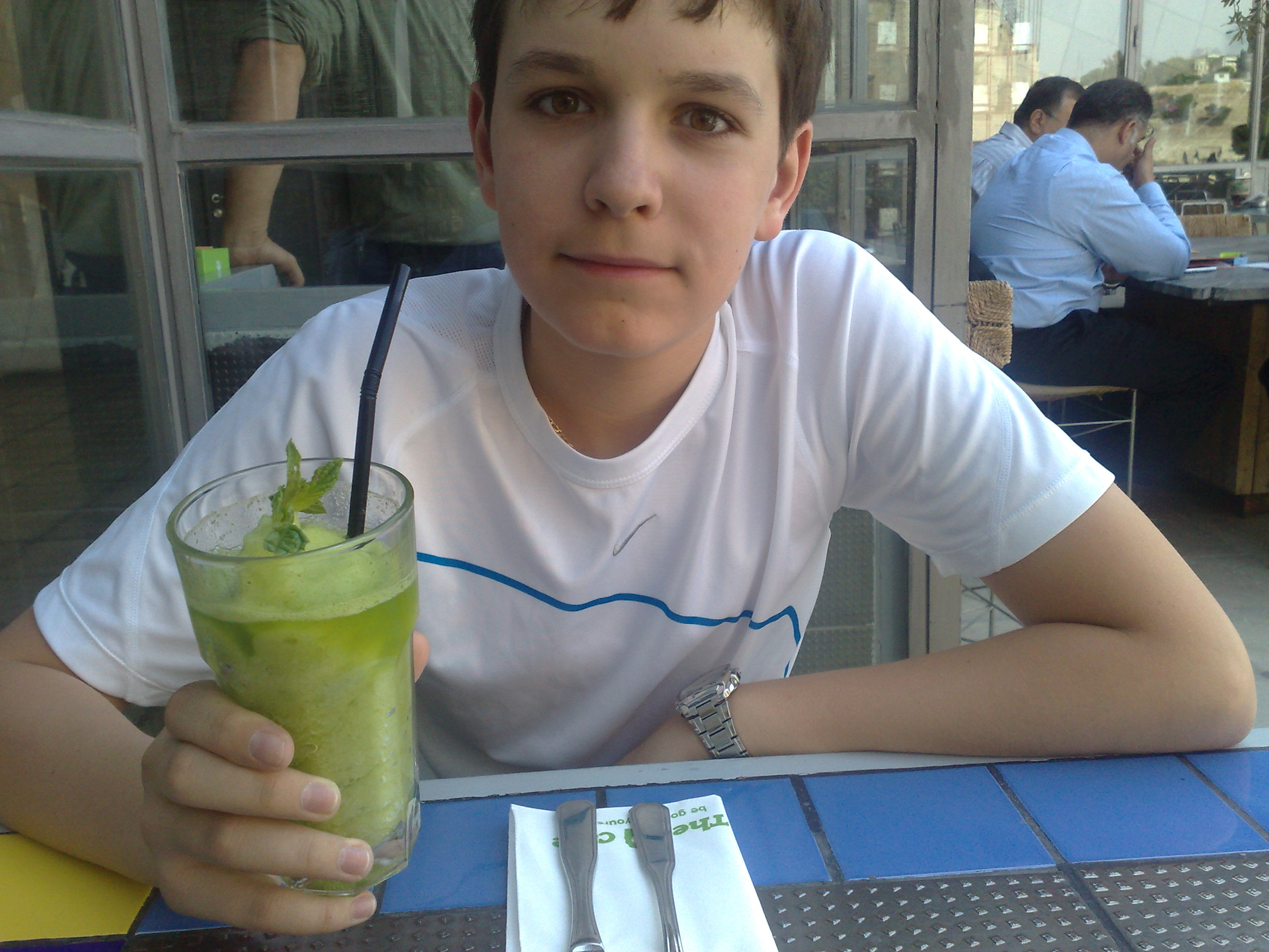 Enjoying minty lemonade at Wild Jordan