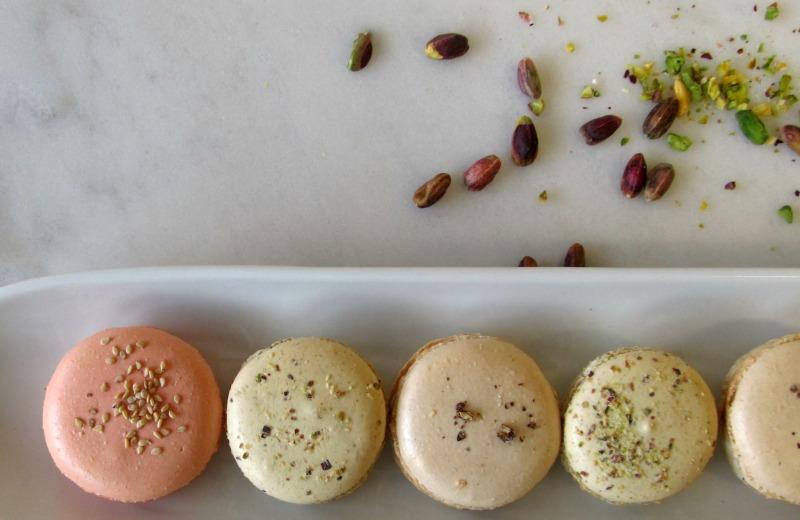 Szechuan pepe macaron with walnuts and gorgonzola