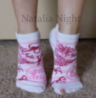 Pink White Dragon Ankle. Very Well Worn. Unknown brand. $10.