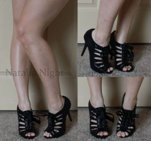 From my college days. Shiny black 3.5 inch heels with bow. Worn. Charlotte Russe. $30. I remember wearing these to my college BF's graduation and our celebration after ;)