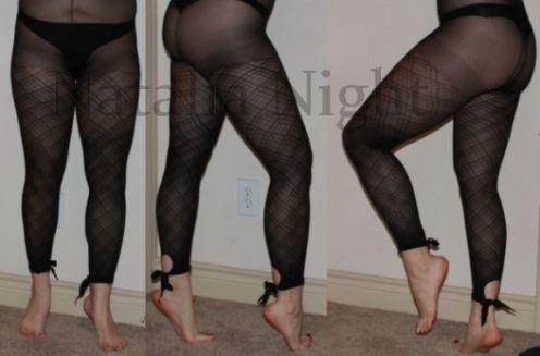 Black Plaid Ankle-Tie Footless tights. Worn. $25. (panties not included)