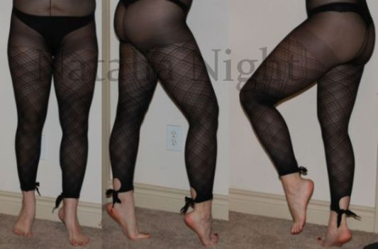 Black Plaid Ankle-Tie Footless tights. Worn. $25. (panties not included)