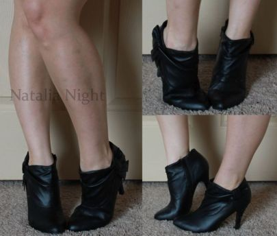 From my college days. Faux leather 3 inch heel booties with bow. Worn. Charlotte Russe. $30.