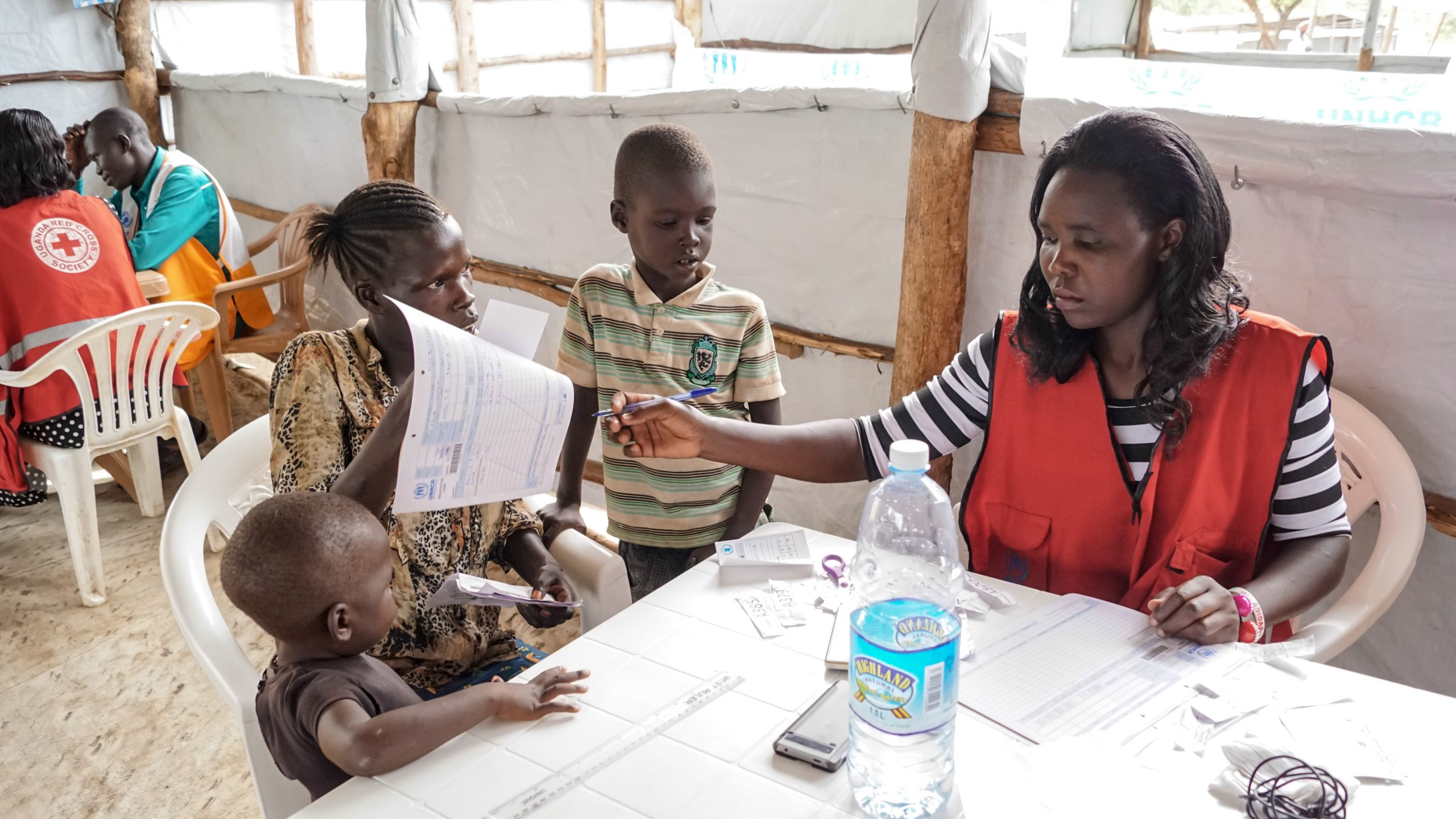 Imvepi Refugee Camp in Uganda: Registration process of South Sudanese refugees.