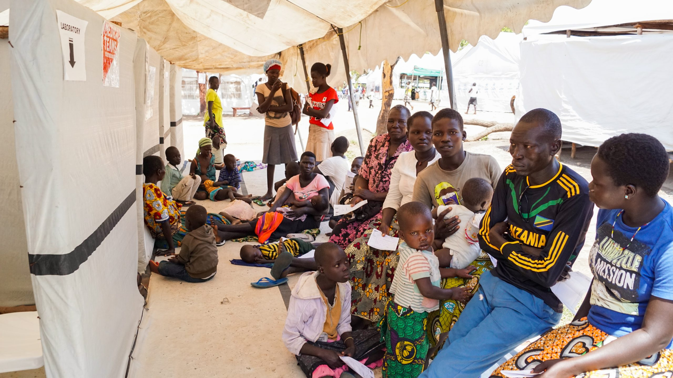Imvepi Refugee Camp in Uganda. South Sudanese refugees waiting for the medical examination.