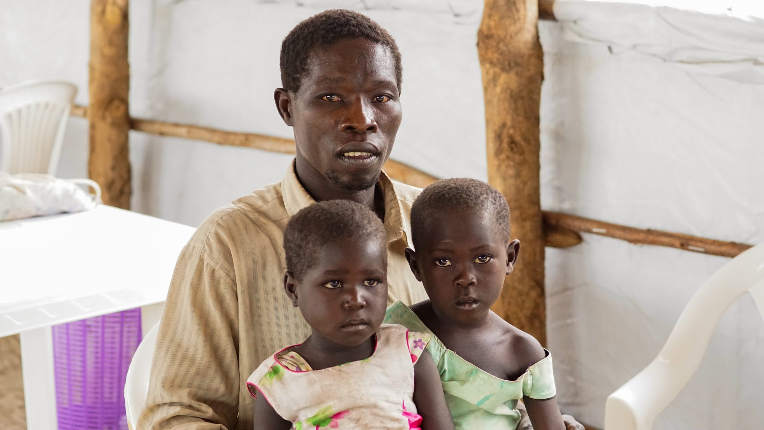 Aloro Bosko is 38-year-old single father of twin girls: Mary and Estella, whose mother died shortly after giving birth. Aloro escaped his home village of Boma in the Yei River State and found safety at the Imvepi Refugee Camp in Uganda.