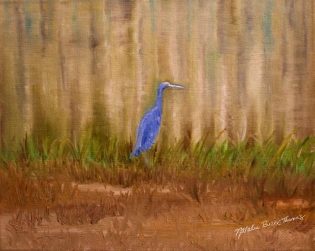 Blue Heron oil painting by Natalie Buske Thomas webcopy