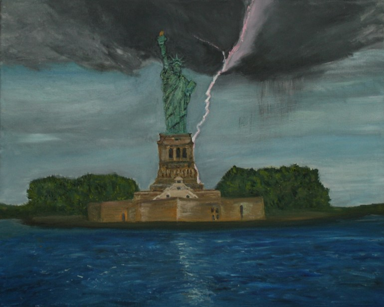 Statue of Liberty Struck by Lightning oil painting by Natalie Buske Thomas