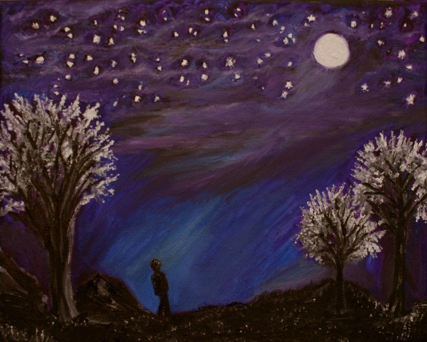 The Moon and the Stars Psalm 8 oil painting by Natalie Buske Thomas