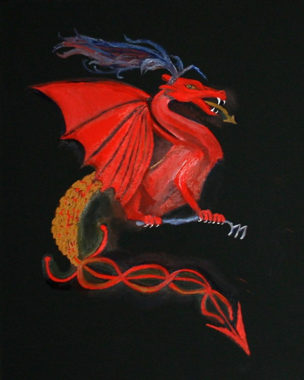 Oil painting of a red dragon