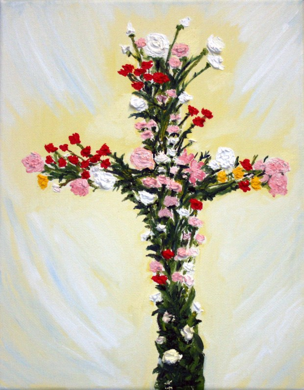 Floral Cross oil painting by artist Natalie Buske Thomas