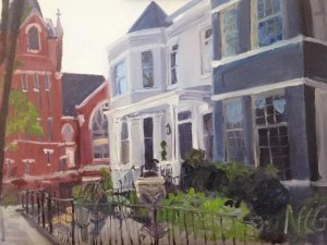 "Original Oil Paintings: ""1801 Hanover"" Oil on Canvas, 18"" x 24"""