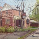 "House Portrait in Oil Painting: ""4200 Park Ave"" Oil on Canvas, 18"" x 24"""