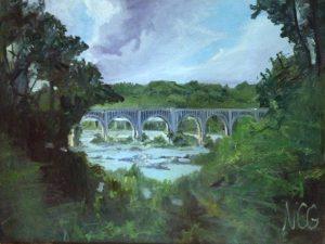 "Original Oil Painting: ""Bridge Over the James, Richmond, VA"" Oil on Canvas, 30"" x 40"""