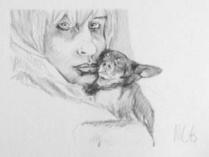 "Original Drawing-People and Portraits: ""Chelsea and Freak"" Graphite on Paper, 12"" x 16"""