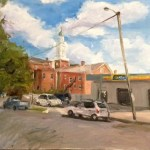 "Original Oil Painting-Scenes of Richmond: ""Church and Garage at Devil's Triangle"" oil on Canvas, 18"" x 24"""