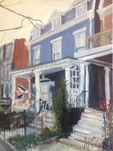 "House Portrait in Oil Painting: ""House on Hanover"" Oil on Canvas, 24"" x 18"""