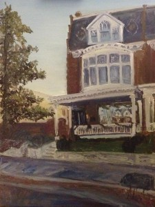 """House Painting in Oil Painting: """"House on Monument"""" Oil on Canvas, 24"""" x 18"""""""