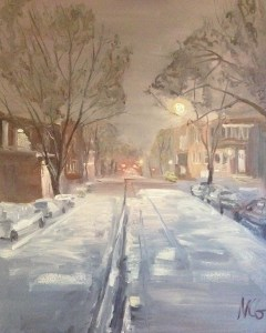 "Original Oil Painting-Scenes of Richmond: ""Main Street RVA in a January Snowstorm, Oil on Canvas, 30"" x 24"""