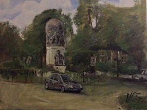 """Original Oil Painting-Scenes of Richmond: """"Maury Statue on Monument"""" Oil on Canvas, 18"""" x 24"""""""