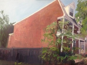 "Original Oil Paintings: ""Museum District House with a Dog"" Oil on Canvas, 18"" x 24"""