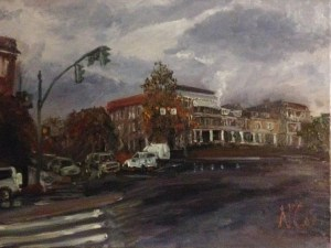 """Original Oil Paintings-Scenes of Richmond: """"Ominous Day on the Boulevard by the VMFA"""" Oil on Canvas, 18""""x24"""""""