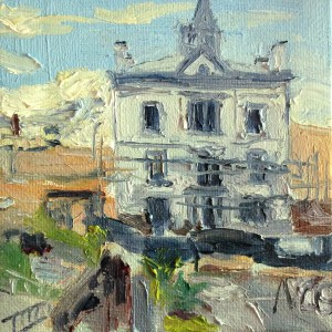 "Original Oil Painting-Scenes of Richmond: ""Restoration Project at the VMFA"" oil on canvas, 4"" x 4"""