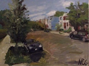 "Original Oil Paintings-Scenes of Richmond: ""Sidewalk by Fox Elementary School"" Oil on Canvas, 18"" x 24"""
