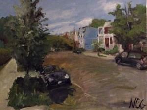 "Original Oil Paintings-Scenes of Richmond: ""Sidewalk by Fox Elementary School"" Oil on Canvas, 18"" x 24"""