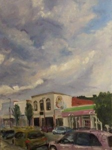 """Original oil painting-Scenes of Richmond: """"Sky in Carytown After a Storm"""" Oil on Canvas, 24"""" x 18"""""""