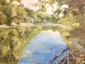"Original Oil Painting-Scenes of Richmond: ""Stone Quarry Pond, Belle Isle"" Oil on Canvas, 18"" x 24"""