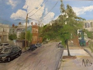 """Original Oil Paintings-Scenes of Richmond: """"Street Where the Artist Lives"""" Oil on Canvas, 18"""" x 24"""""""