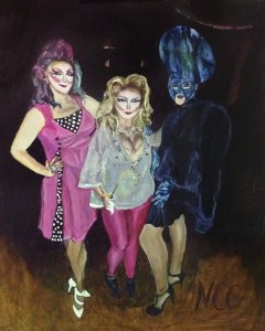 "Original Oil Painting-People and Portraits: ""Three Fancy Ladies"" Oil on Panel, 16"" x 20"""