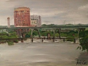 "Original Oil Paintings-Scenes of Richmond: ""View from the Footbridge to Belle Isles"" Oil on Canvas, 18"" x 24"""